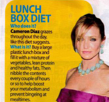 Cameron Diaz in OK Magazine uses The Lunch Box Diet