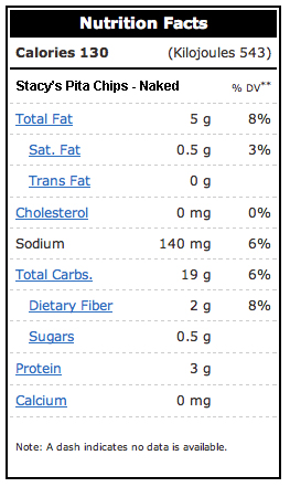 stacys pita chips nutrition facts
