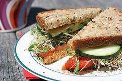 vegetarian sandwich with hummus
