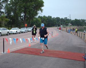 Josh Graston at the finish line.