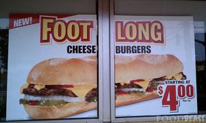 the foot-long cheeseburger from Carl's Jr.