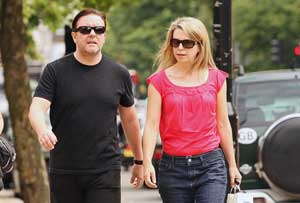 Comedian Ricky Gervais and girlfriend