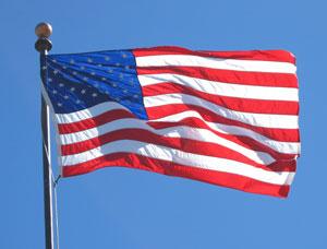 Flag against blue sky