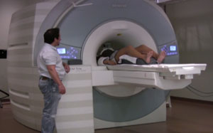 Woman having an fMRI scan
