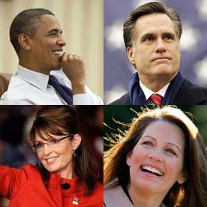 Barack Obama, Mitt Romney, Sarah Palin, Michele Bachmann