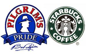 Starbucks and Pilgram's Pride Logos