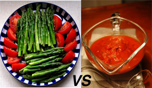 Raw vs. cooked tomatoes and aspargus