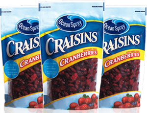 three bags of Ocean Spray Dried Cranberries