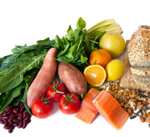 fruits, vegetables, fish and whole grain