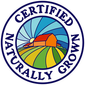 round certified naturally grown seal