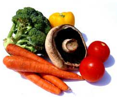 carrots, mushroom, broccoli and tomato