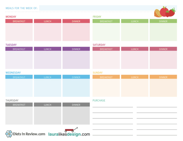 Free Weekly Meal Planner Worksheets To Organize Healthy Homemade Food