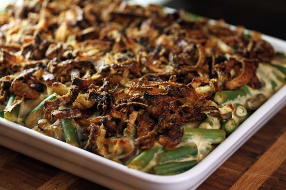 green bean and mushrooms