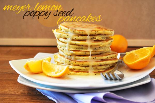 Meyer Lemon Poppyseed Pancakes via diets in review