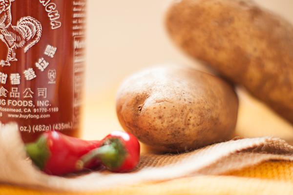 Sriracha and potatoes
