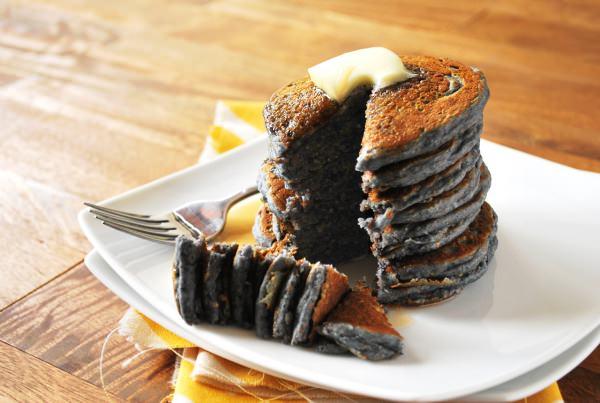 savory blue cornmeal pancakes