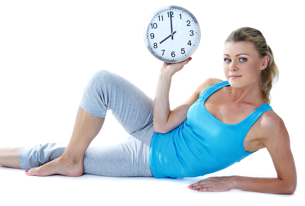 woman fit time clock