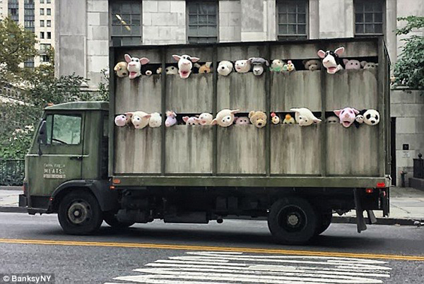 banksy animal truck