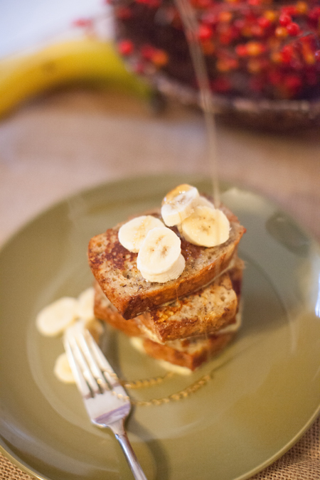 banana bread french toast with honey