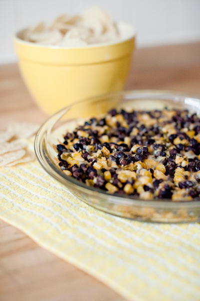 cheesy black bean corn dip