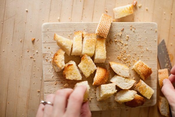grilled baguette croutons