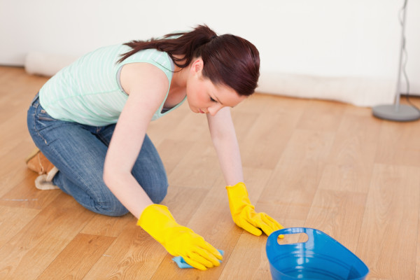 scrubbing floors