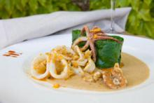 Soused Spinach with Walnut-Lemon Puree and a Saute of Calamari Photo