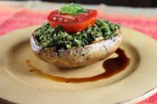 Raw Portobello Mushroom Stuffed with Basil Pesto Photo