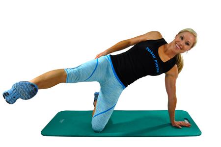 pilates for runners workout single leg bicycle kneeling start