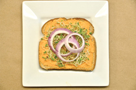 Roasted Red Pepper Hummus Sandwich