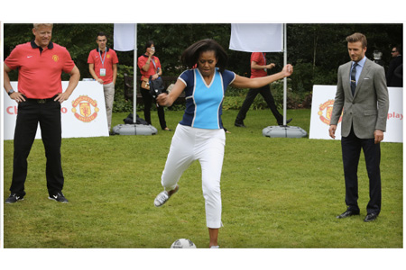 Michelle Obama Bends It Like Beckham