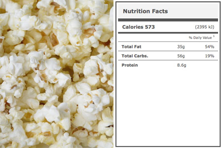 Calories in Stadium Popcorn