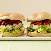 Feta Stuffed Chicken Burger Photo