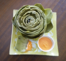 Steamed Artichokes with Roasted Pepper Dip Photo