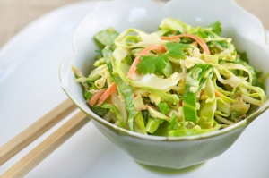 Asian Napa Cabbage Carrot Slaw with Snow Peas Photo