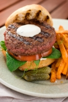 Beef Burgers and Sweet Potato Fries Photo