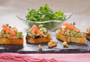 Walnut, Edamame, Grapefruit Bruschetta with Arugula Salad  Photo