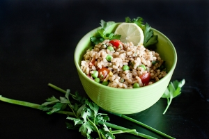 Toasted Farro, Cured Tomatoes, Almonds, Preserved Lemon, Herbs Photo