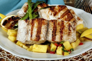 Grilled Halibut With Pineapple Photo