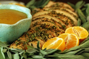 Herb-Orange Turkey Breast with Roasted Pear Gravy Photo