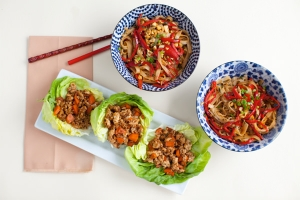 Hoisin Chicken Lettuce Wraps with Stir-Fried Rice Noodles Photo