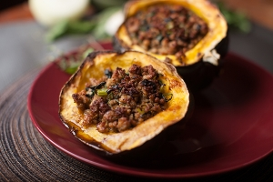 Turkey and Herb Stuffed Acorn Squash Photo