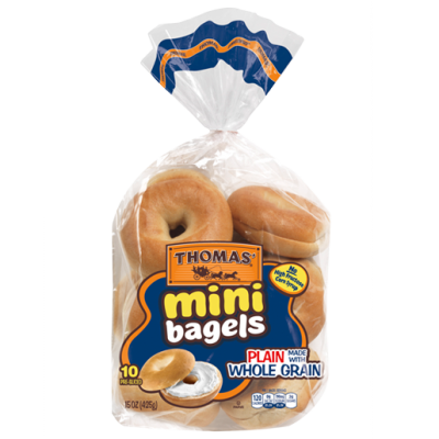 Mini Bagels, Whole Grain, Plain