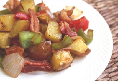 Roasted Potatoes with Roasted Peppers and Onions