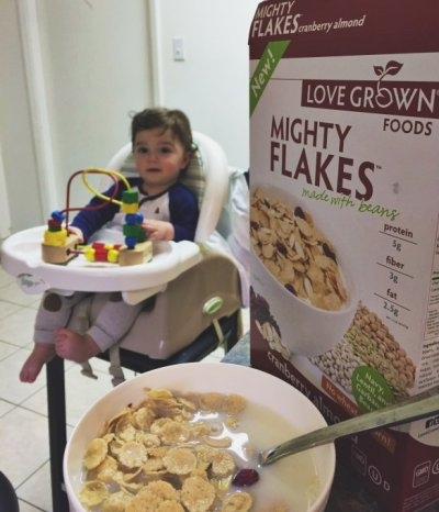 Mighty Flakes, Made With Beans, Frosted, Cereal