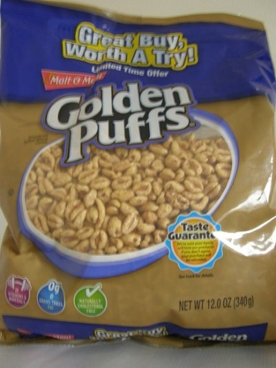 Cereal, Sweetened Puffed Wheat, Golden Puffs