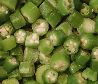 Okra, frozen, cooked, boiled, drained, without salt