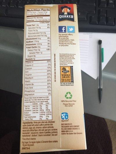 Quaker instant oatmeal caloric content