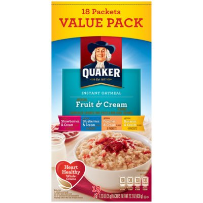 Instant Oatmeal, Fruit And Cream, Variety Pack