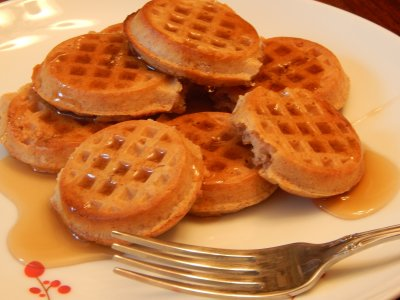 Mini Whole Wheat Flax Waffles